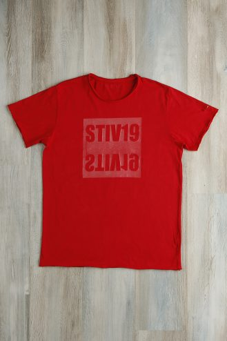 Red coated t-shirt